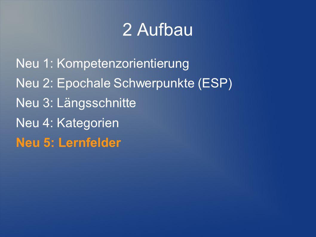2 Aufbau Neu 1: Kompetenzorientierung Neu 2: Epochale Schwerpunkte (ESP) Neu 3: Längsschnitte Neu 4: Kategorien Neu 5: Lernfelder