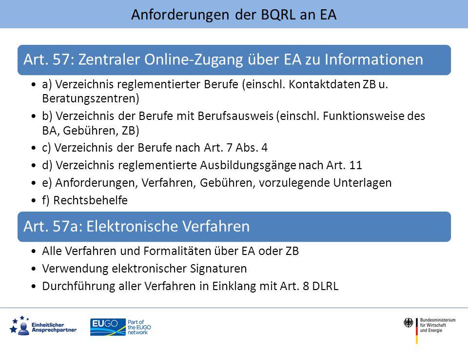 Anforderungen der BQRL an EA Art. 57: Zentraler Online-Zugang über EA zu Informationen a) Verzeichnis reglementierter Berufe (einschl. Kontaktdaten ZB