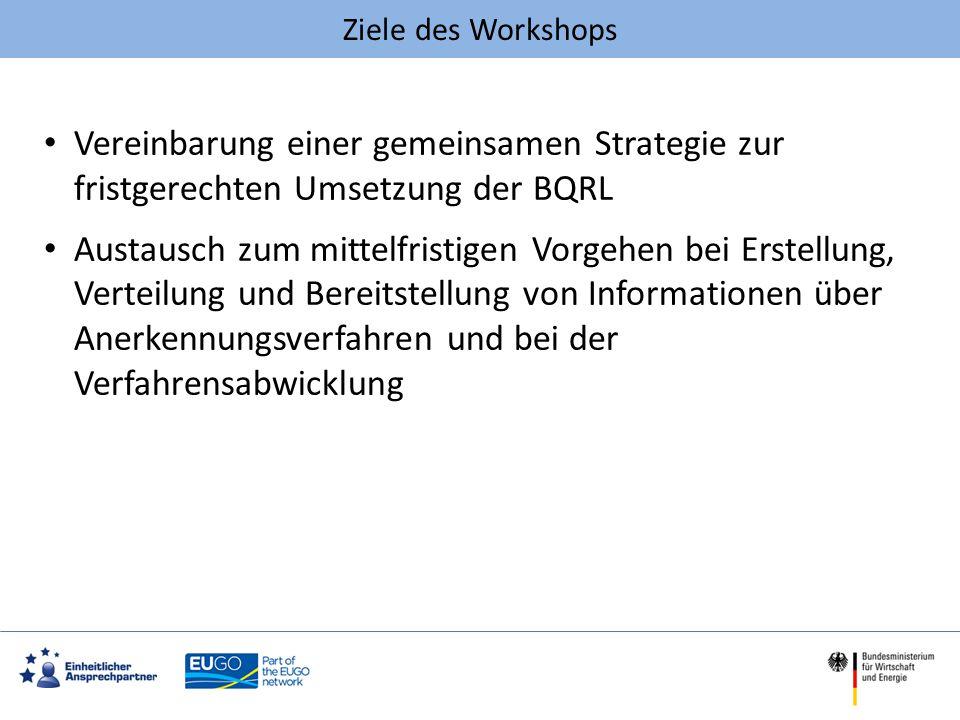 Ziele des Workshops Vereinbarung einer gemeinsamen Strategie zur fristgerechten Umsetzung der BQRL Austausch zum mittelfristigen Vorgehen bei Erstellu