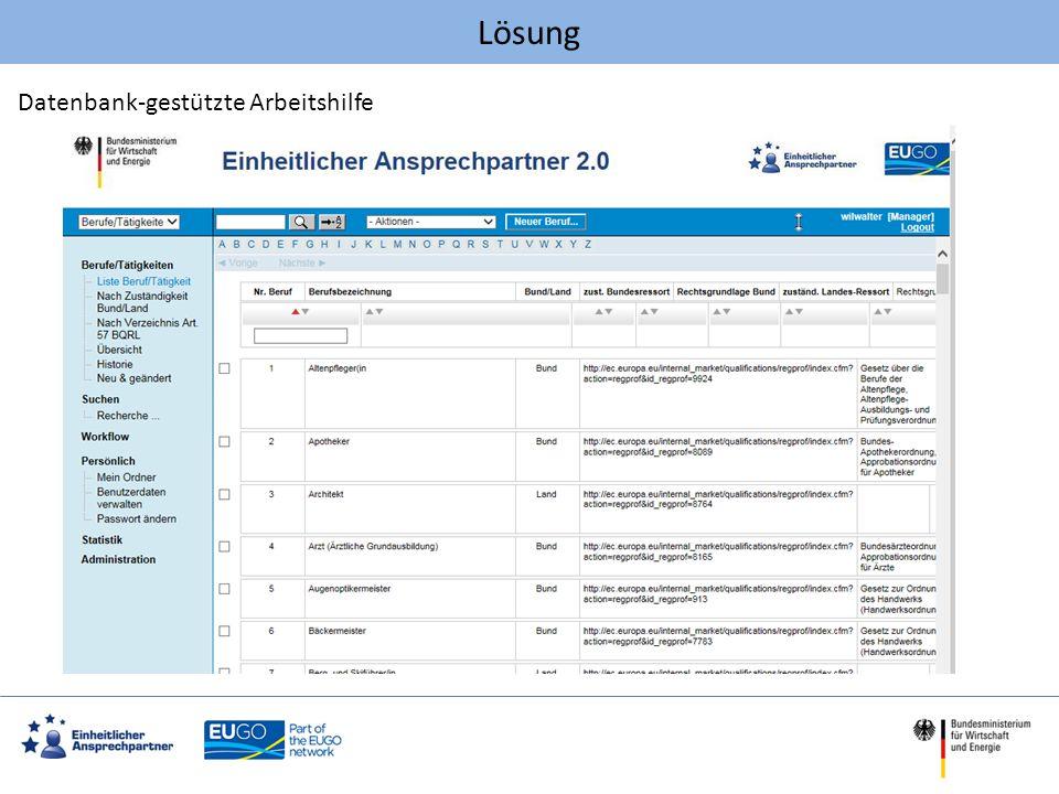 Aufbau der Datenbank BerufeLeistungenSzenarien 3 zentrale Module Metadaten zu Informationsquellen u.