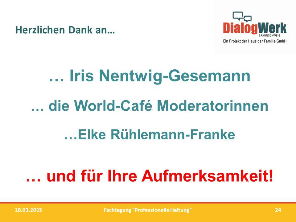 Herzlichen Dank an… 18.03.201524 … Iris Nentwig-Gesemann … die World-Café Moderatorinnen …Elke Rühlemann-Franke … und für Ihre Aufmerksamkeit! Fachtag