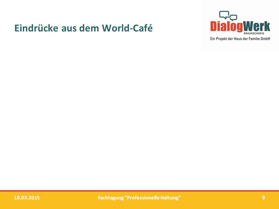 Workshops und ihre Statements 18.03.2015Fachtagung Professionelle Haltung 10
