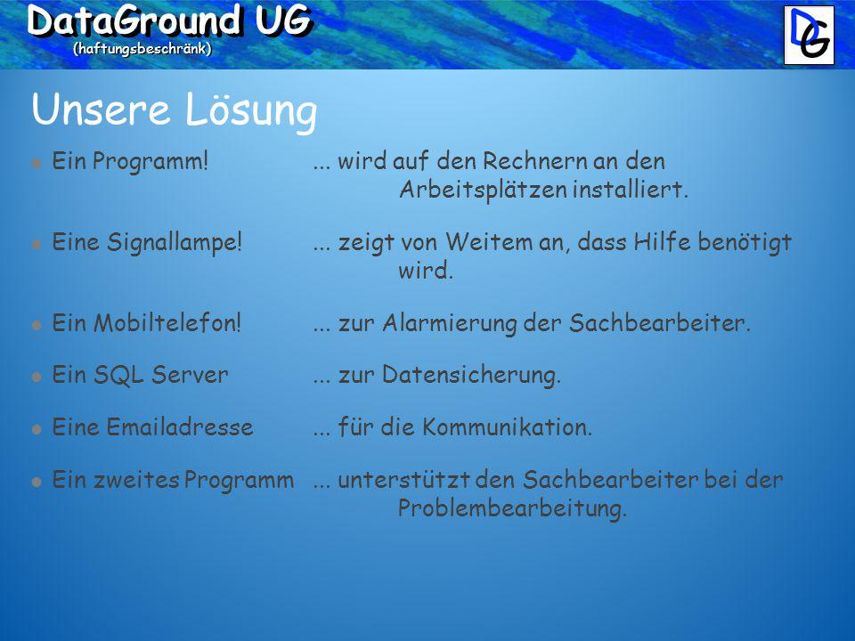 DataGround UG (haftungsbeschränk) Unsere Lösung Ein Programm.