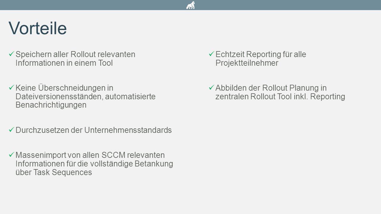 Speichern aller Rollout relevanten Informationen in einem Tool Keine Überschneidungen in Dateiversionensständen, automatisierte Benachrichtigungen Dur