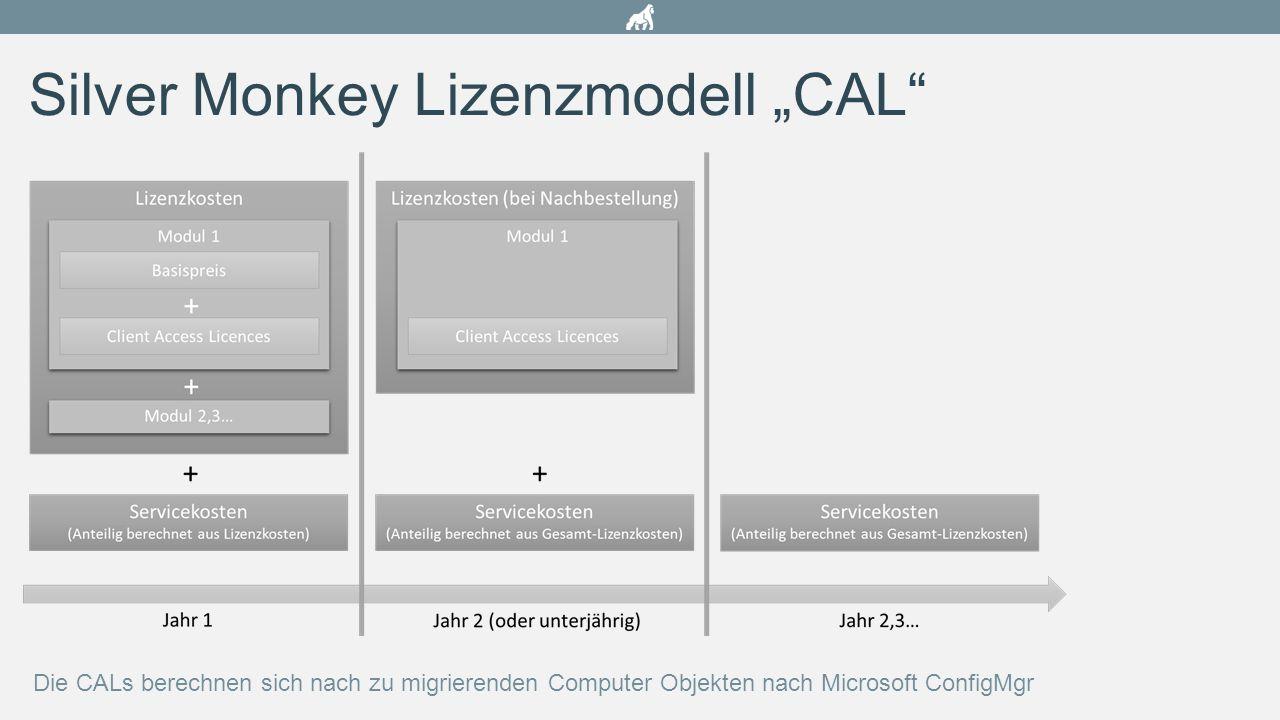 """Silver Monkey Lizenzmodell """"CAL"""" Die CALs berechnen sich nach zu migrierenden Computer Objekten nach Microsoft ConfigMgr"""