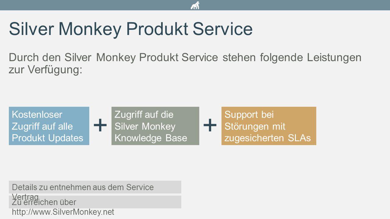 Silver Monkey Produkt Service Durch den Silver Monkey Produkt Service stehen folgende Leistungen zur Verfügung: Kostenloser Zugriff auf alle Produkt U