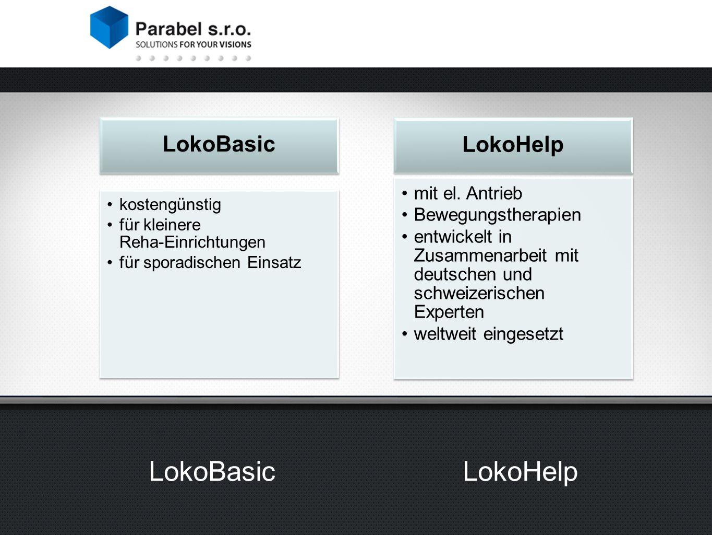 LokoBasic kostengünstig für kleinere Reha-Einrichtungen für sporadischen Einsatz LokoHelp mit el.