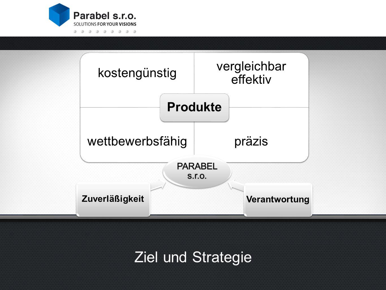 Ziel und Strategie kostengünstig vergleichbar effektiv wettbewerbsfähigpräzis Produkte PARABEL s.r.o.