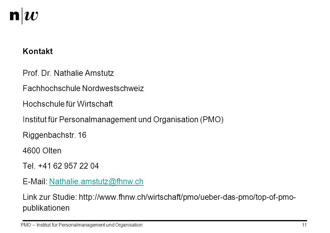PMO – Institut für Personalmanagement und Organisation11 Kontakt Prof. Dr. Nathalie Amstutz Fachhochschule Nordwestschweiz Hochschule für Wirtschaft I