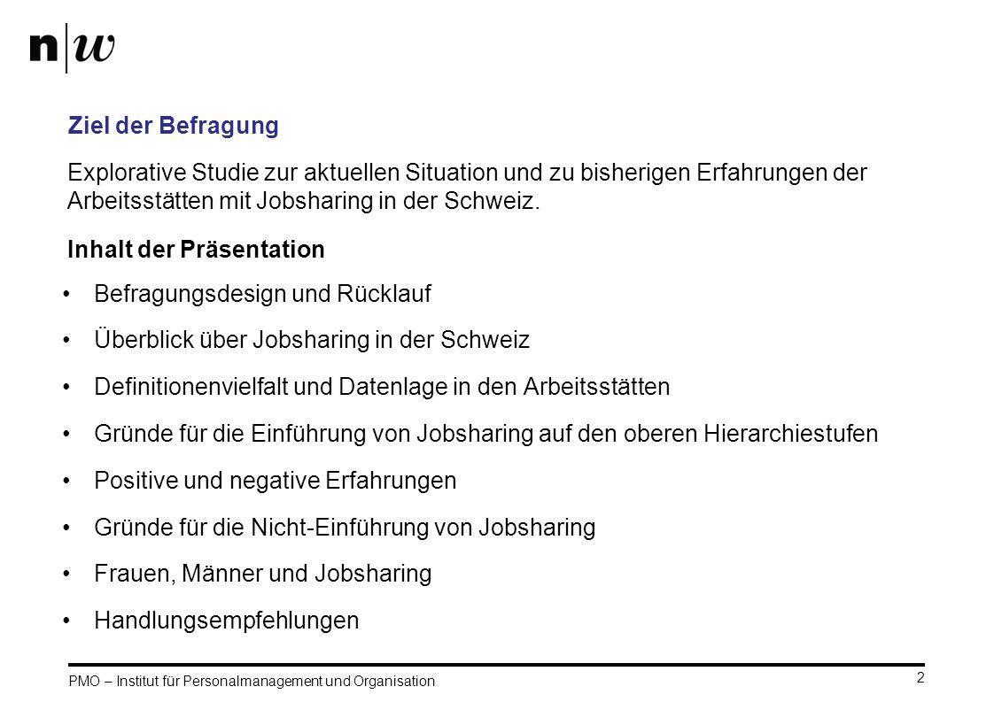 PMO – Institut für Personalmanagement und Organisation 2 Ziel der Befragung Befragungsdesign und Rücklauf Überblick über Jobsharing in der Schweiz Def