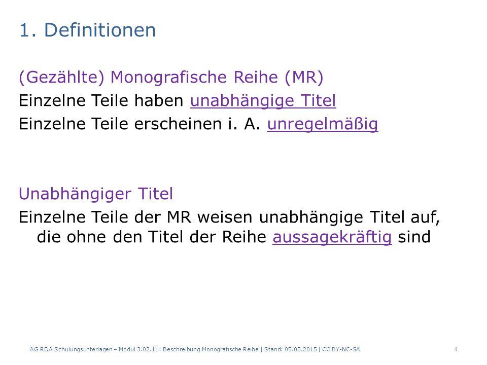 1. Definitionen (Gezählte) Monografische Reihe (MR) Einzelne Teile haben unabhängige Titel Einzelne Teile erscheinen i. A. unregelmäßig Unabhängiger T