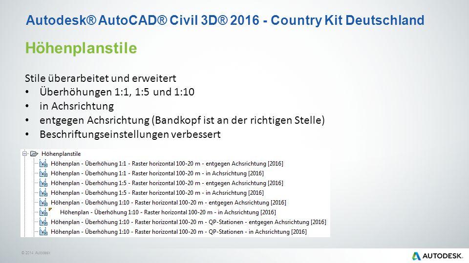 © 2014 Autodesk Höhenplanstile Stile überarbeitet und erweitert Überhöhungen 1:1, 1:5 und 1:10 in Achsrichtung entgegen Achsrichtung (Bandkopf ist an der richtigen Stelle) Beschriftungseinstellungen verbessert Autodesk® AutoCAD® Civil 3D® 2016 - Country Kit Deutschland