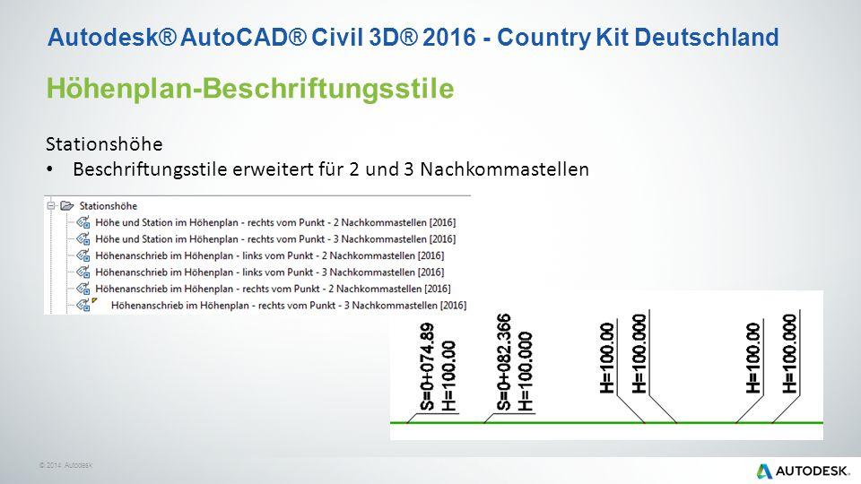 © 2014 Autodesk Höhenplan-Beschriftungsstile Stationshöhe Beschriftungsstile erweitert für 2 und 3 Nachkommastellen Autodesk® AutoCAD® Civil 3D® 2016 - Country Kit Deutschland