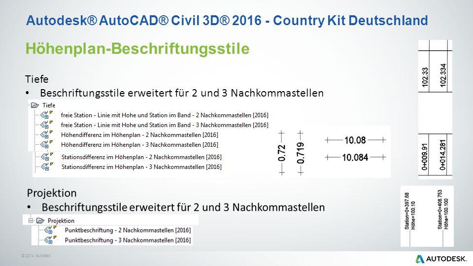 © 2014 Autodesk Höhenplan-Beschriftungsstile Tiefe Beschriftungsstile erweitert für 2 und 3 Nachkommastellen Autodesk® AutoCAD® Civil 3D® 2016 - Country Kit Deutschland