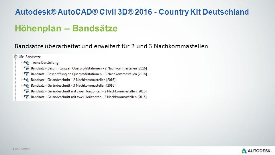 © 2014 Autodesk Höhenplan – Bandsätze Bandsätze überarbeitet und erweitert für 2 und 3 Nachkommastellen Autodesk® AutoCAD® Civil 3D® 2016 - Country Kit Deutschland