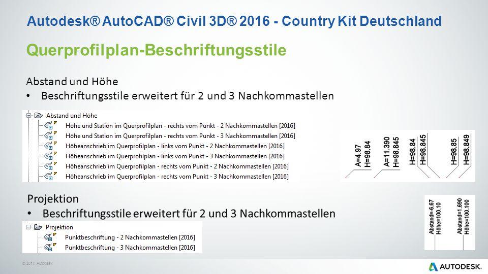 © 2014 Autodesk Querprofilplan-Beschriftungsstile Abstand und Höhe Beschriftungsstile erweitert für 2 und 3 Nachkommastellen Autodesk® AutoCAD® Civil 3D® 2016 - Country Kit Deutschland