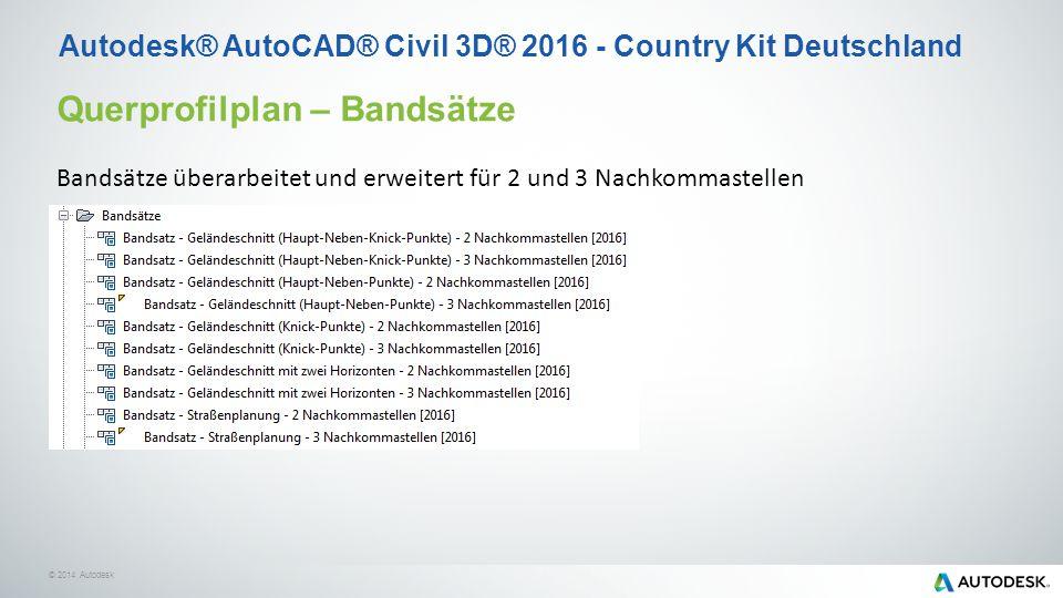 © 2014 Autodesk Querprofilplan – Bandsätze Bandsätze überarbeitet und erweitert für 2 und 3 Nachkommastellen Autodesk® AutoCAD® Civil 3D® 2016 - Country Kit Deutschland
