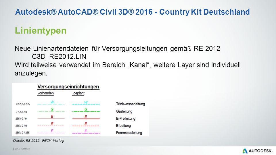 """© 2014 Autodesk Linientypen Neue Linienartendateien für Versorgungsleitungen gemäß RE 2012 C3D_RE2012.LIN Wird teilweise verwendet im Bereich """"Kanal , weitere Layer sind individuell anzulegen."""