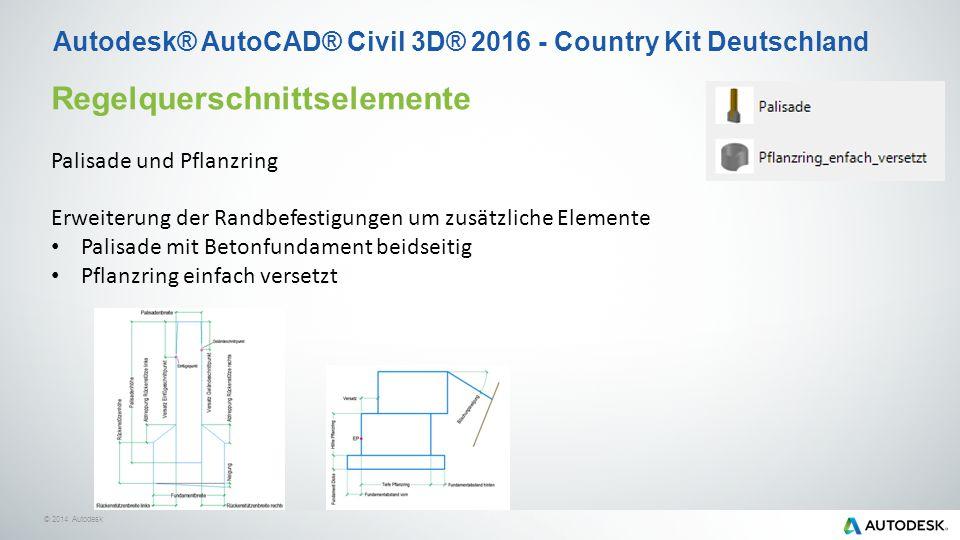 © 2014 Autodesk Autodesk® AutoCAD® Civil 3D® 2016 - Country Kit Deutschland Regelquerschnittselemente Palisade und Pflanzring Erweiterung der Randbefestigungen um zusätzliche Elemente Palisade mit Betonfundament beidseitig Pflanzring einfach versetzt