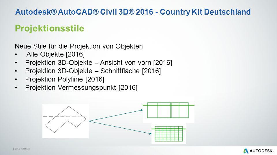 © 2014 Autodesk Projektionsstile Neue Stile für die Projektion von Objekten Alle Objekte [2016] Projektion 3D-Objekte – Ansicht von vorn [2016] Projektion 3D-Objekte – Schnittfläche [2016] Projektion Polylinie [2016] Projektion Vermessungspunkt [2016] Autodesk® AutoCAD® Civil 3D® 2016 - Country Kit Deutschland