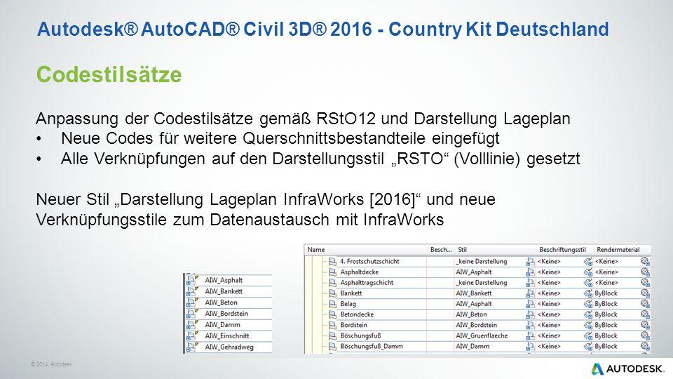 """© 2014 Autodesk Codestilsätze Anpassung der Codestilsätze gemäß RStO12 und Darstellung Lageplan Neue Codes für weitere Querschnittsbestandteile eingefügt Alle Verknüpfungen auf den Darstellungsstil """"RSTO (Volllinie) gesetzt Neuer Stil """"Darstellung Lageplan InfraWorks [2016] und neue Verknüpfungsstile zum Datenaustausch mit InfraWorks Autodesk® AutoCAD® Civil 3D® 2016 - Country Kit Deutschland"""