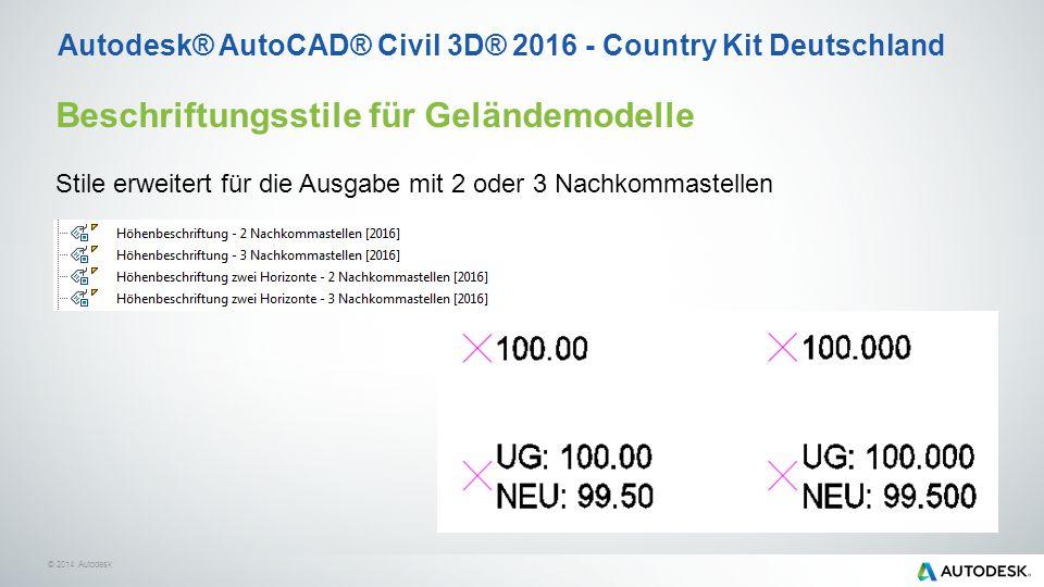 © 2014 Autodesk Beschriftungsstile für Geländemodelle Stile erweitert für die Ausgabe mit 2 oder 3 Nachkommastellen Autodesk® AutoCAD® Civil 3D® 2016 - Country Kit Deutschland