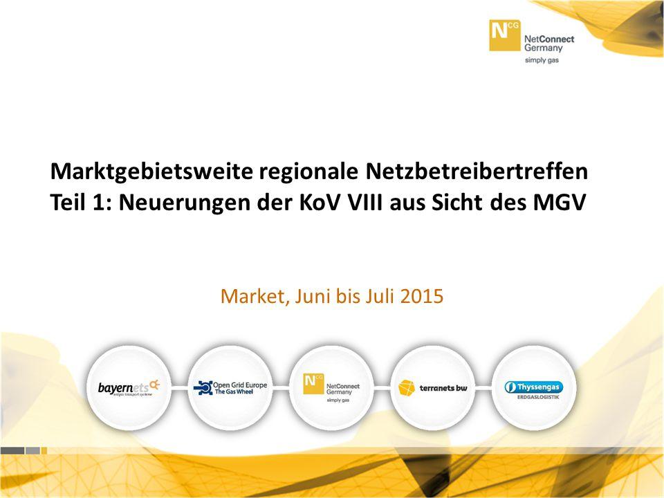 Teil 1: Neuerungen der KoV VIII Marktgebietsweite regionale Netzbetreibertreffen Teil 1: Neuerungen der KoV VIII aus Sicht des MGV Market, Juni bis Ju