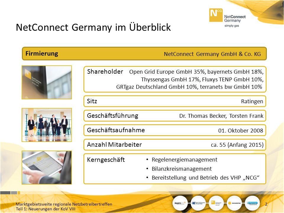 Teil 1: Neuerungen der KoV VIII NetConnect Germany im Überblick Firmierung NetConnect Germany GmbH & Co. KG Shareholder Open Grid Europe GmbH 35%, bay