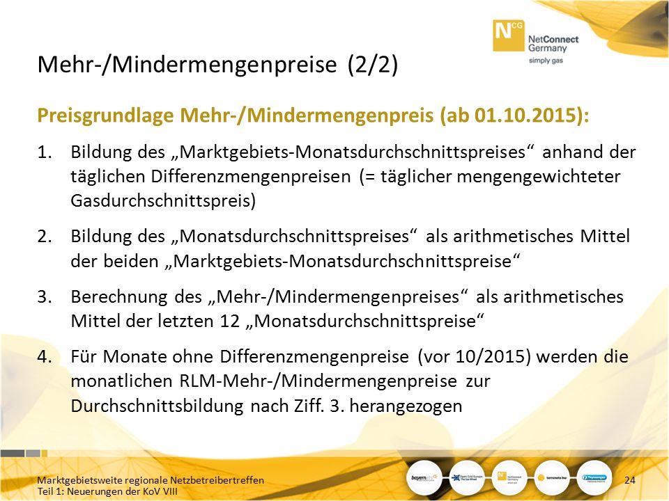 """Teil 1: Neuerungen der KoV VIII Mehr-/Mindermengenpreise (2/2) Preisgrundlage Mehr-/Mindermengenpreis (ab 01.10.2015): 1.Bildung des """"Marktgebiets-Mon"""