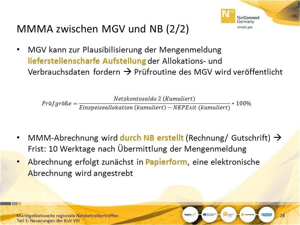 Teil 1: Neuerungen der KoV VIII MMMA zwischen MGV und NB (2/2) MGV kann zur Plausibilisierung der Mengenmeldung lieferstellenscharfe Aufstellung der A