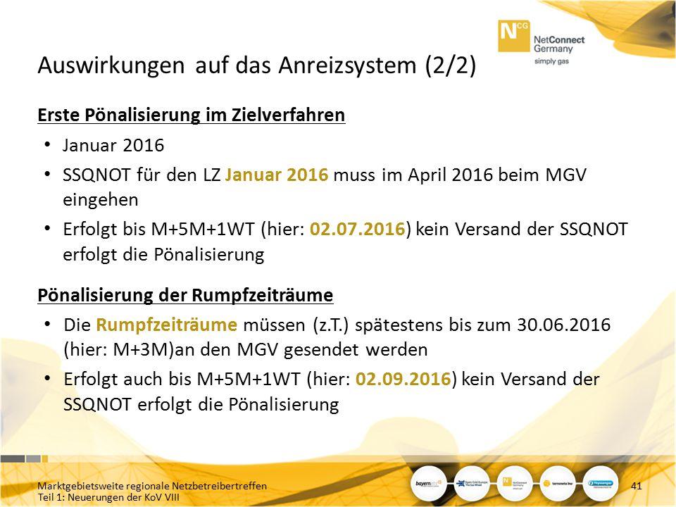 Teil 1: Neuerungen der KoV VIII Auswirkungen auf das Anreizsystem (2/2) Erste Pönalisierung im Zielverfahren Januar 2016 SSQNOT für den LZ Januar 2016