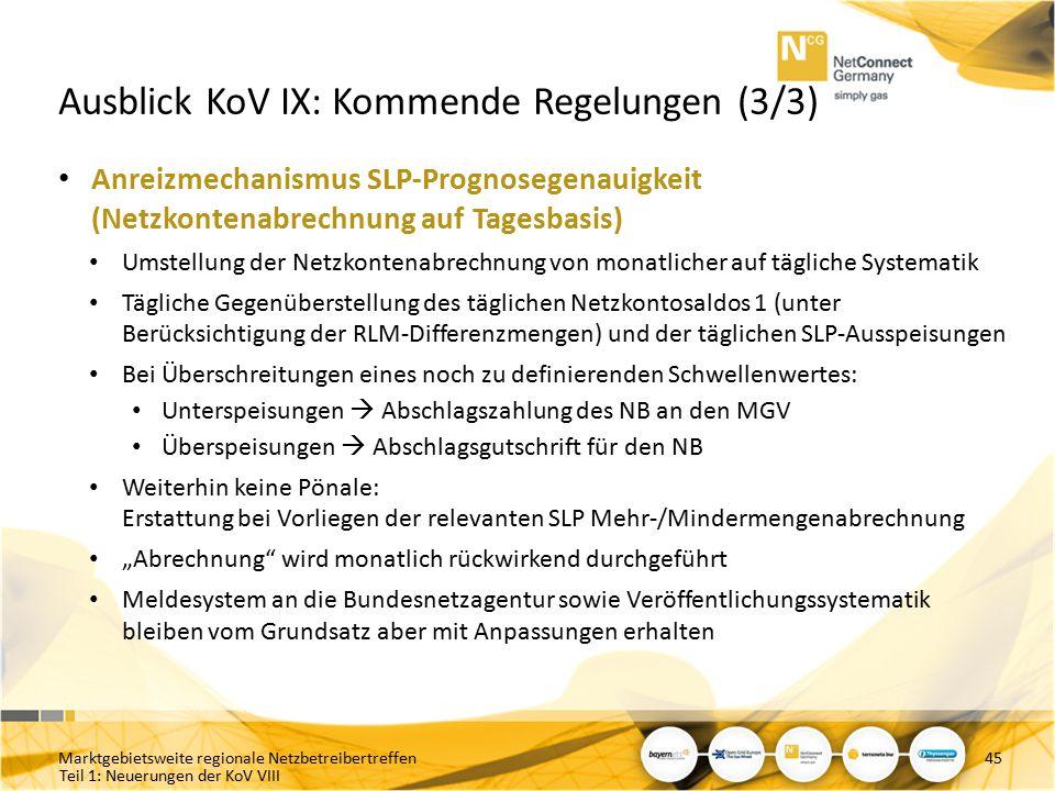 Teil 1: Neuerungen der KoV VIII Ausblick KoV IX: Kommende Regelungen (3/3) Anreizmechanismus SLP-Prognosegenauigkeit (Netzkontenabrechnung auf Tagesba
