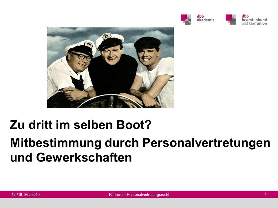 18./19. Mai 201510. Forum Personalvertretungsrecht 1 Zu dritt im selben Boot? Mitbestimmung durch Personalvertretungen und Gewerkschaften