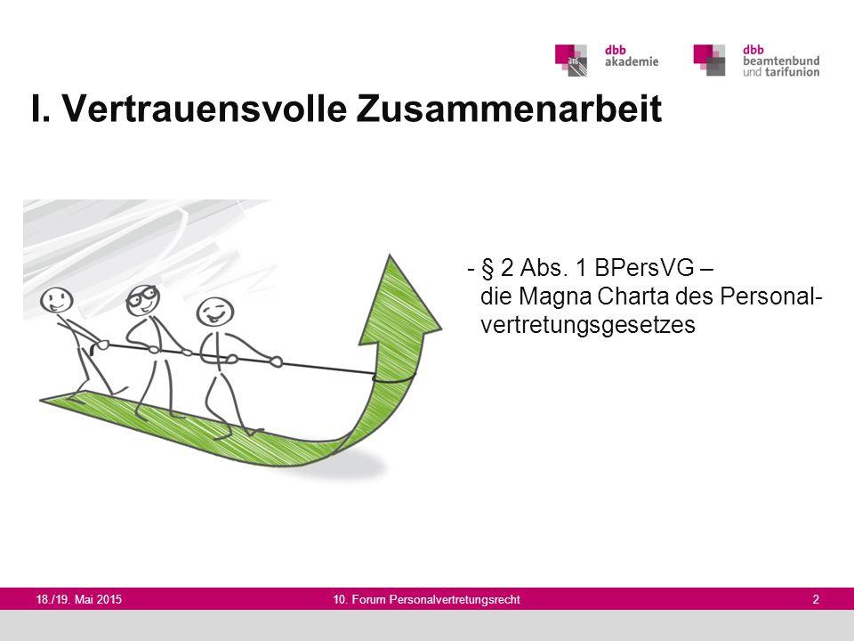 I. Vertrauensvolle Zusammenarbeit 18./19. Mai 201510. Forum Personalvertretungsrecht 2 - § 2 Abs. 1 BPersVG – die Magna Charta des Personal- vertretun