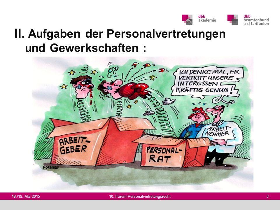 18./19. Mai 201510. Forum Personalvertretungsrecht 3 II. Aufgaben der Personalvertretungen und Gewerkschaften :