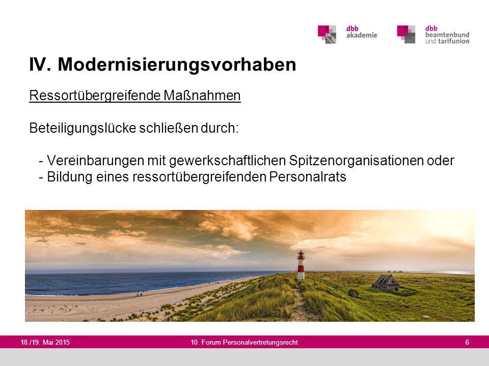 IV. Modernisierungsvorhaben Ressortübergreifende Maßnahmen Beteiligungslücke schließen durch: - Vereinbarungen mit gewerkschaftlichen Spitzenorganisat