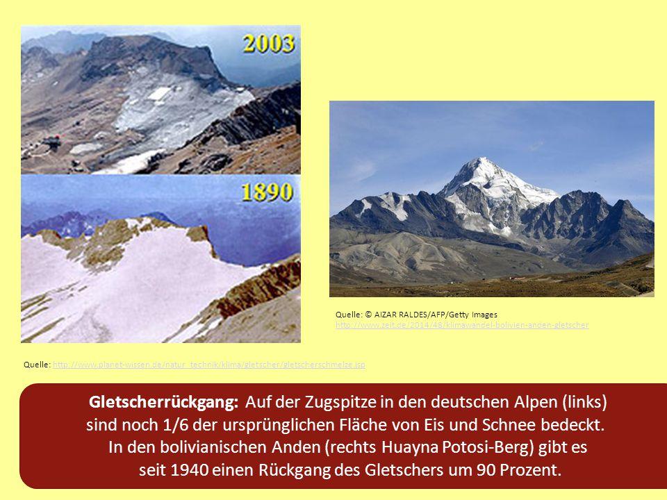 Gletscherrückgang: Auf der Zugspitze in den deutschen Alpen (links) sind noch 1/6 der ursprünglichen Fläche von Eis und Schnee bedeckt. In den bolivia