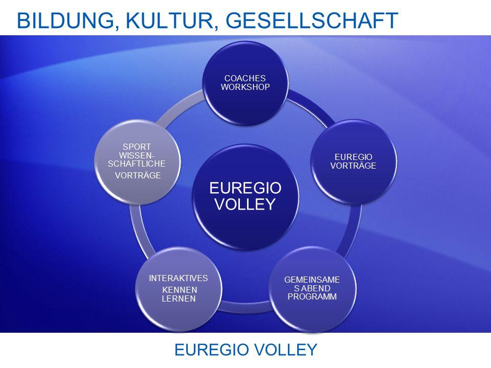 BILDUNG, KULTUR, GESELLSCHAFT EUREGIO VOLLEY COACHES WORKSHOP EUREGIO VORTRÄGE GEMEINSAME S ABEND PROGRAMM INTERAKTIVES KENNEN LERNEN SPORT WISSEN- SCHAFTLICHE VORTRÄGE