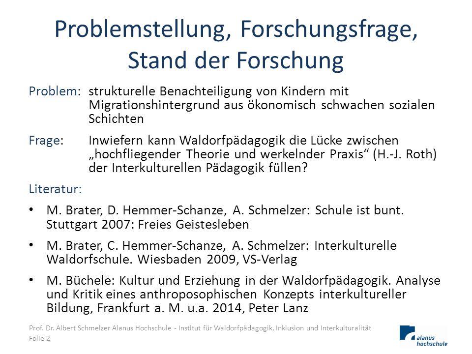 Problemstellung, Forschungsfrage, Stand der Forschung Problem: strukturelle Benachteiligung von Kindern mit Migrationshintergrund aus ökonomisch schwa