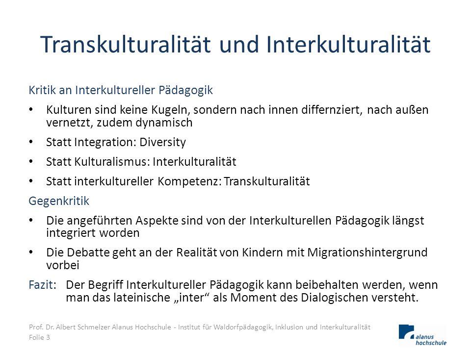 Transkulturalität und Interkulturalität Kritik an Interkultureller Pädagogik Kulturen sind keine Kugeln, sondern nach innen differnziert, nach außen v