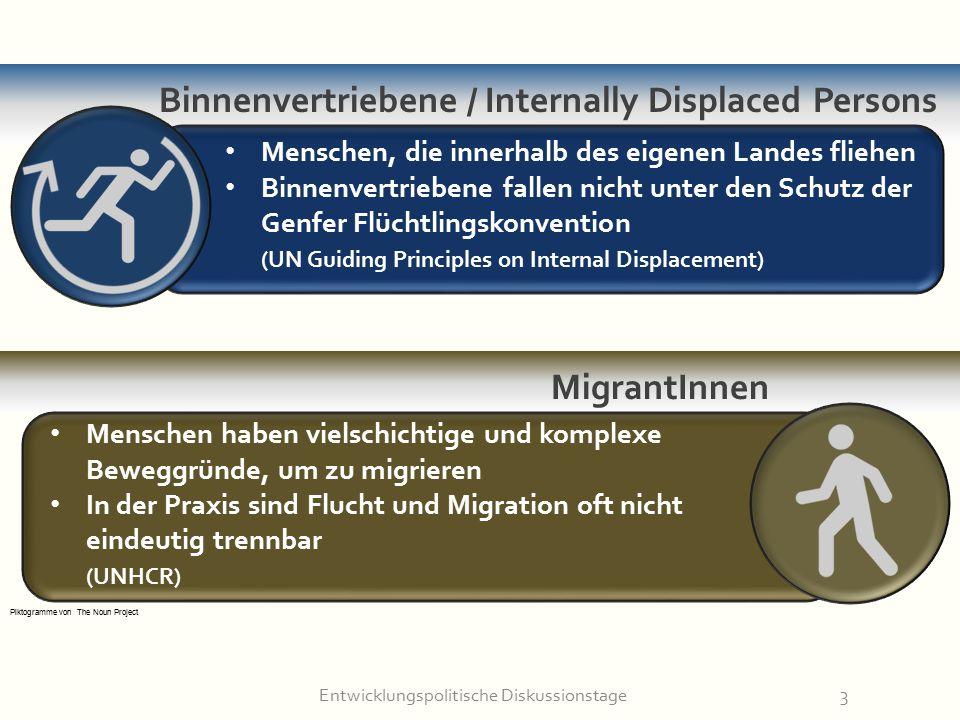 Entwicklungspolitische Diskussionstage3 MigrantInnen Binnenvertriebene / Internally Displaced Persons Menschen, die innerhalb des eigenen Landes flieh