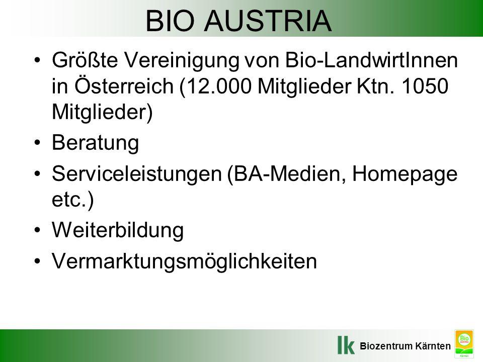 Biozentrum Kärnten BIO AUSTRIA Größte Vereinigung von Bio-LandwirtInnen in Österreich (12.000 Mitglieder Ktn. 1050 Mitglieder) Beratung Serviceleistun
