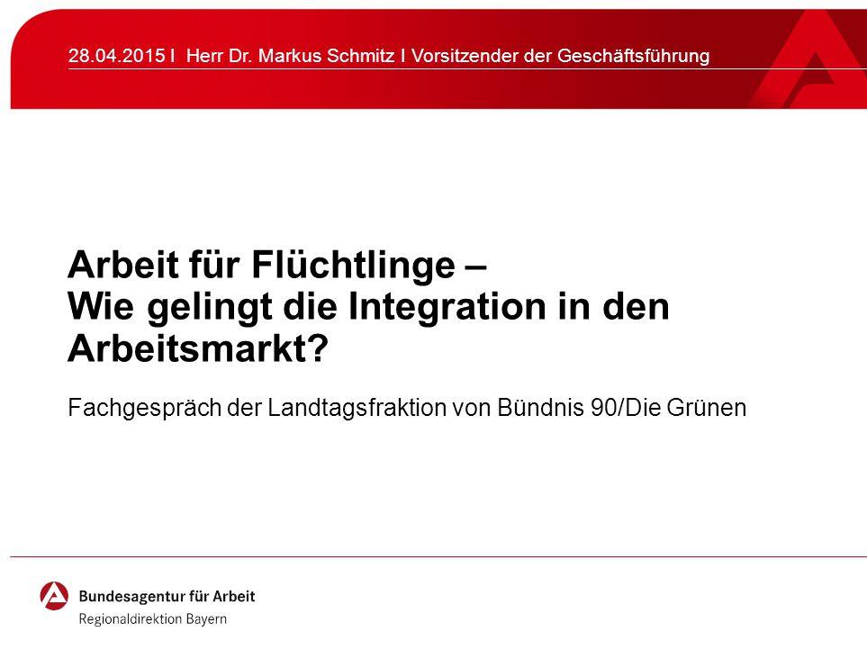 Arbeit für Flüchtlinge – Wie gelingt die Integration in den Arbeitsmarkt? Fachgespräch der Landtagsfraktion von Bündnis 90/Die Grünen 28.04.2015 I Her