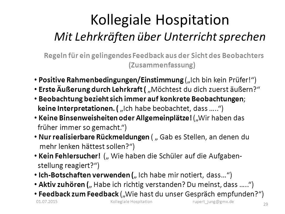 Kollegiale Hospitation Mit Lehrkräften über Unterricht sprechen Regeln für ein gelingendes Feedback aus der Sicht des Beobachters (Zusammenfassung) 01
