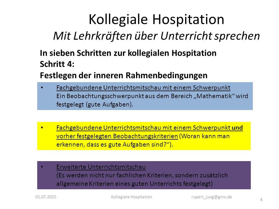 Kollegiale Hospitation Mit Lehrkräften über Unterricht sprechen 01.07.2015 4 Kollegiale Hospitation rupert_jung@gmx.de In sieben Schritten zur kollegi