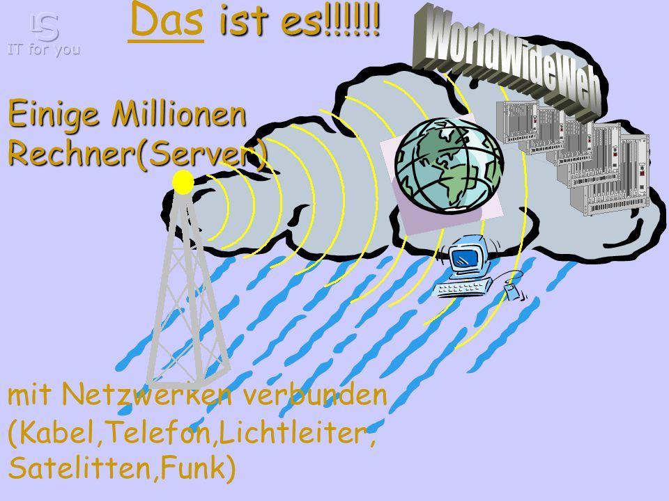 Einige Millionen Rechner(Server) mit Netzwerken verbunden (Kabel,Telefon,Lichtleiter, Satelitten,Funk) ist es!!!!!.