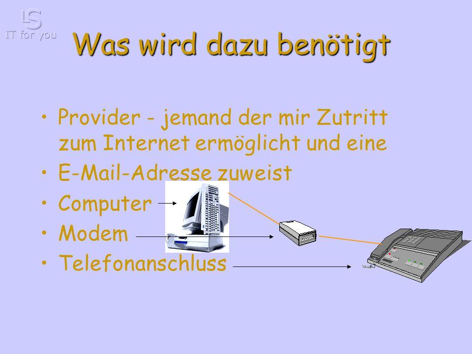Was wird dazu benötigt Provider - jemand der mir Zutritt zum Internet ermöglicht und eine E-Mail-Adresse zuweist Computer Modem Telefonanschluss