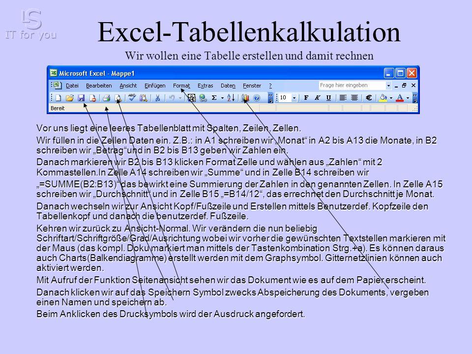 Excel-Tabellenkalkulation Wir wollen eine Tabelle erstellen und damit rechnen Vor uns liegt eine leeres Tabellenblatt mit Spalten, Zeilen, Zellen.