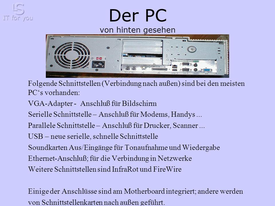 Der PC von hinten gesehen Folgende Schnittstellen (Verbindung nach außen) sind bei den meisten PC's vorhanden: VGA-Adapter - Anschluß für Bildschirm Serielle Schnittstelle – Anschluß für Modems, Handys...