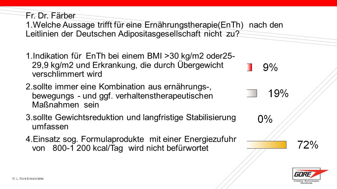 W. L. Gore & Associates Fr. Dr. Färber 1.Welche Aussage trifft für eine Ernährungstherapie(EnTh) nach den Leitlinien der Deutschen Adipositasgesellsch